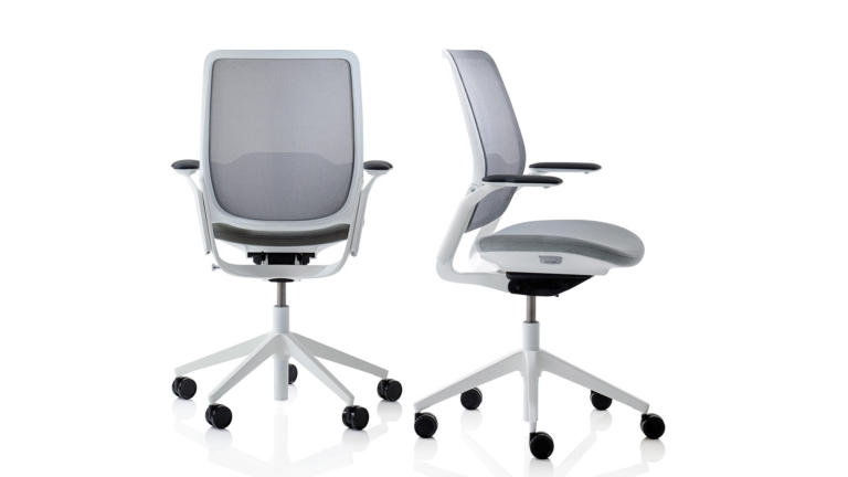 A pair of white and grey Eva task chairs