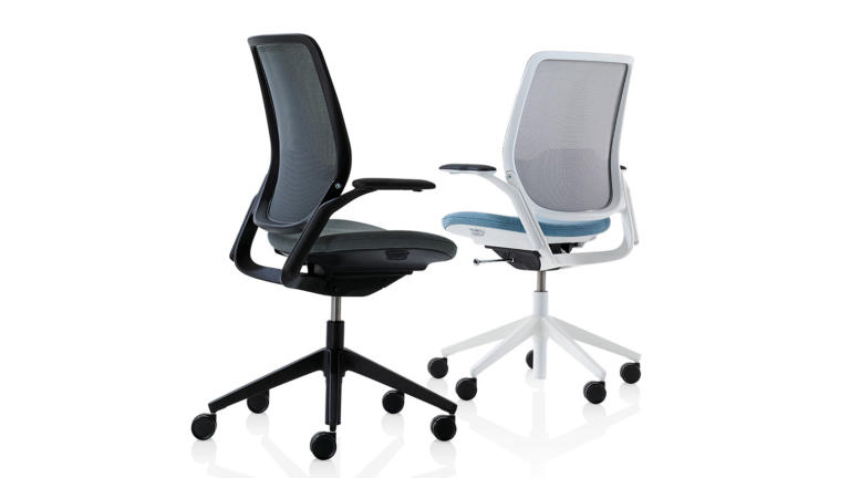 A white and a black Eva task chair