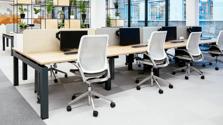 A modern office space with Eva task chairs