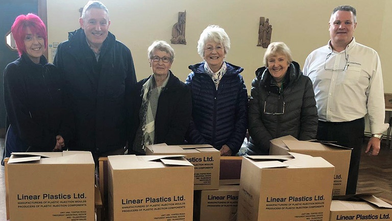 Linear Plastics food bank raising work at Christmas time